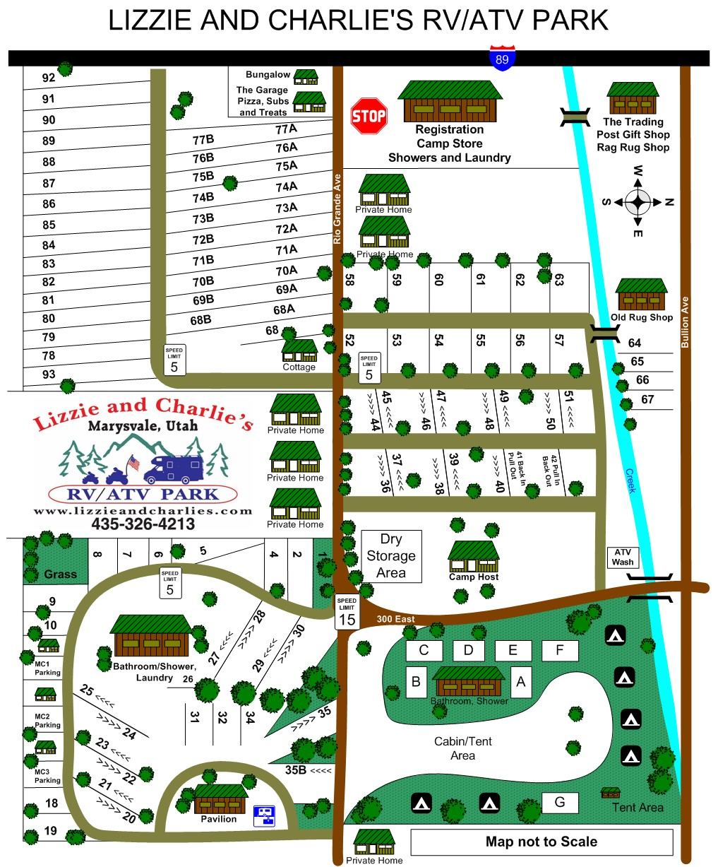 Lizzie and Charlies Campground Map